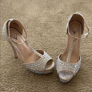 Rhinestone & Gold Glam platform heels.